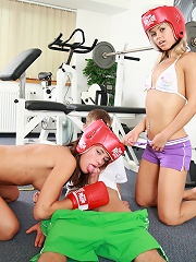 Little Caprice boxing with her girlfriend and fucking
