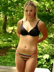 collegegirl outside in rainbow panties