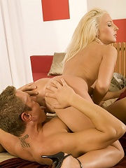 Blonde cock addict gets fucked all over the place