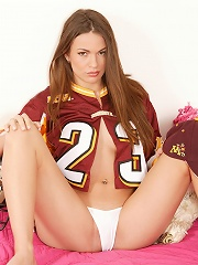 Football groupie shows off her sexy body
