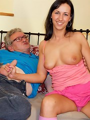 Horny old fart fucks a cute chick