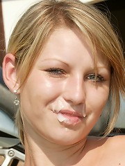 Teen blonde receives cum mustache