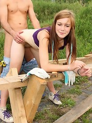 Railing her tight snatch outdoors